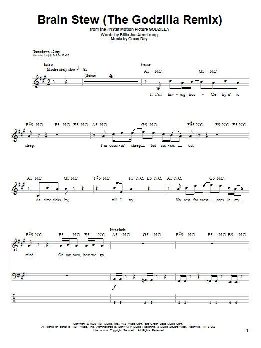 Brain Stew Lyrics  Brain Stew The Godzilla Remix by Green Day Bass Tab
