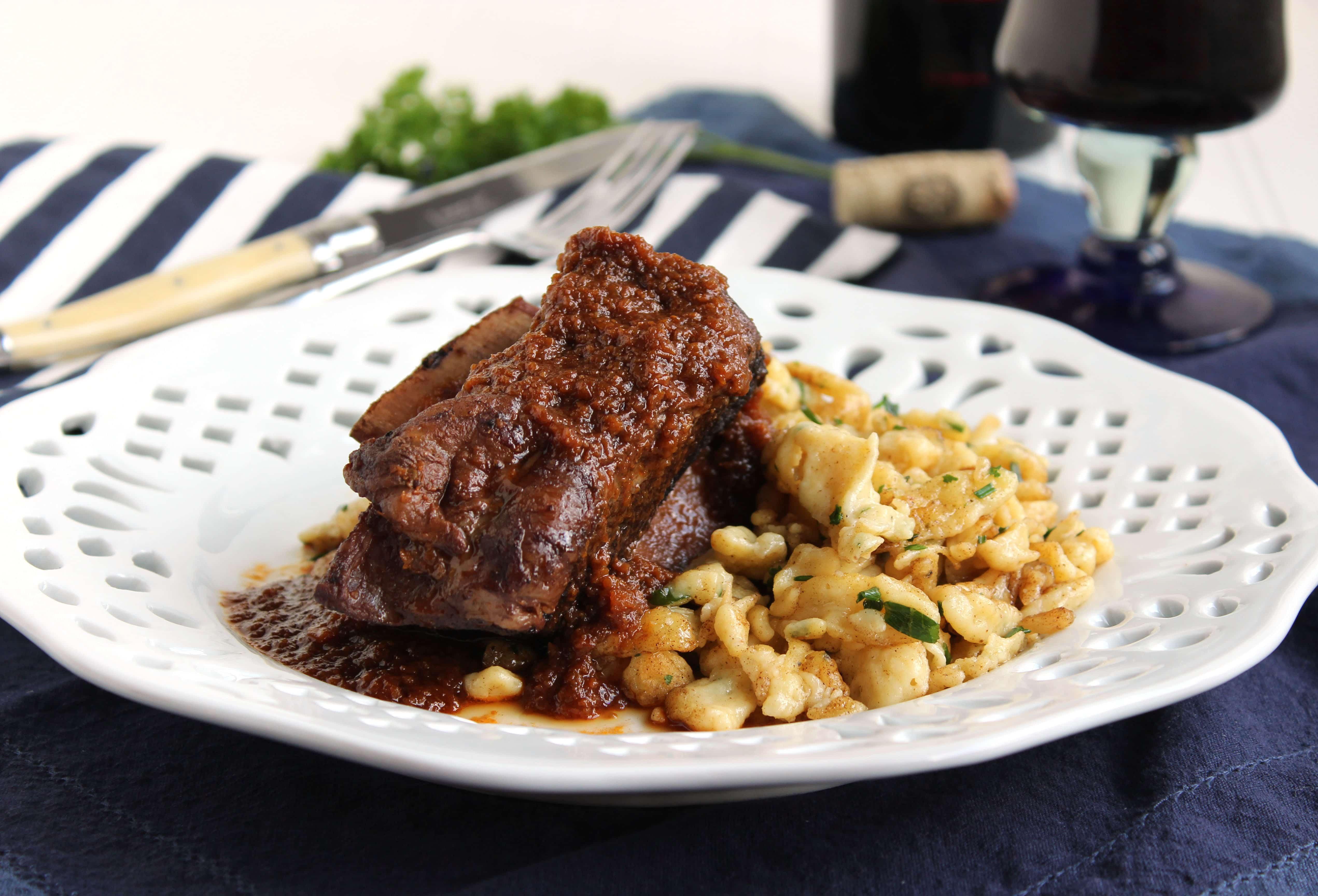Braised Beef Short Ribs  Slow Cooker Braised Beef Short Ribs with Herbed Spaetzle