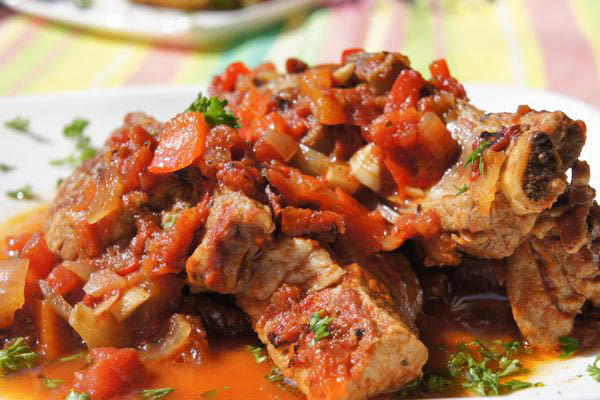 Braised Country Style Pork Ribs  Braised Country Style Pork Ribs with Tomatoes and Red Peppers