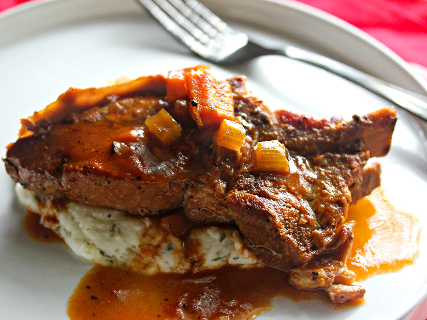 Braised Country Style Pork Ribs  Cider Braised Country Style Pork Ribs With Creamy Mashed