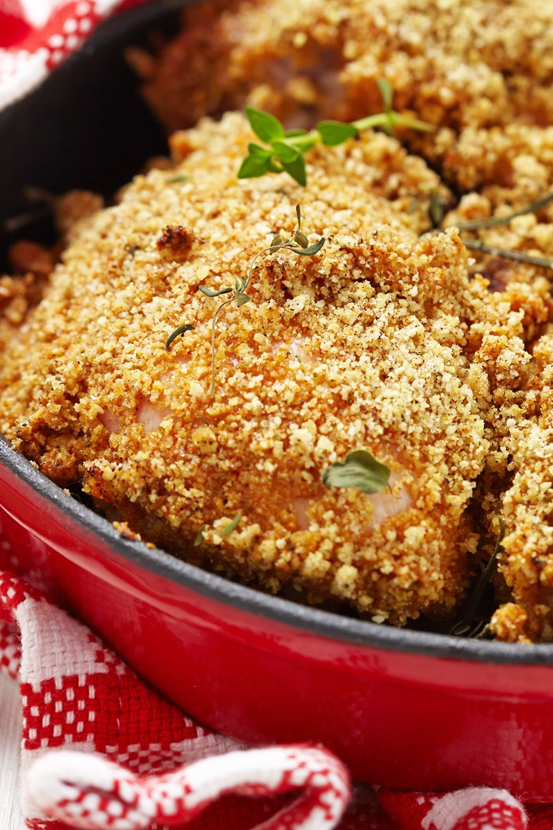 Bread Crumbs Recipe  baked chicken thighs with bread crumbs