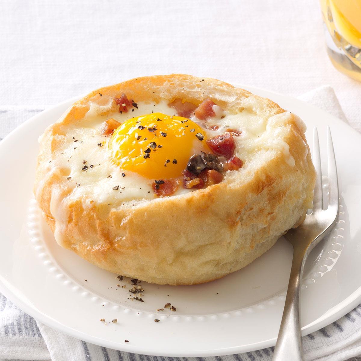 Bread Recipes For Breakfast  Breakfast Bread Bowls Recipe