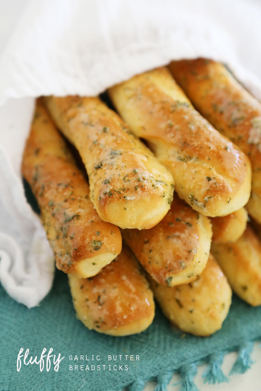 Bread Sticks Recipe  Fluffy Garlic Butter Breadsticks