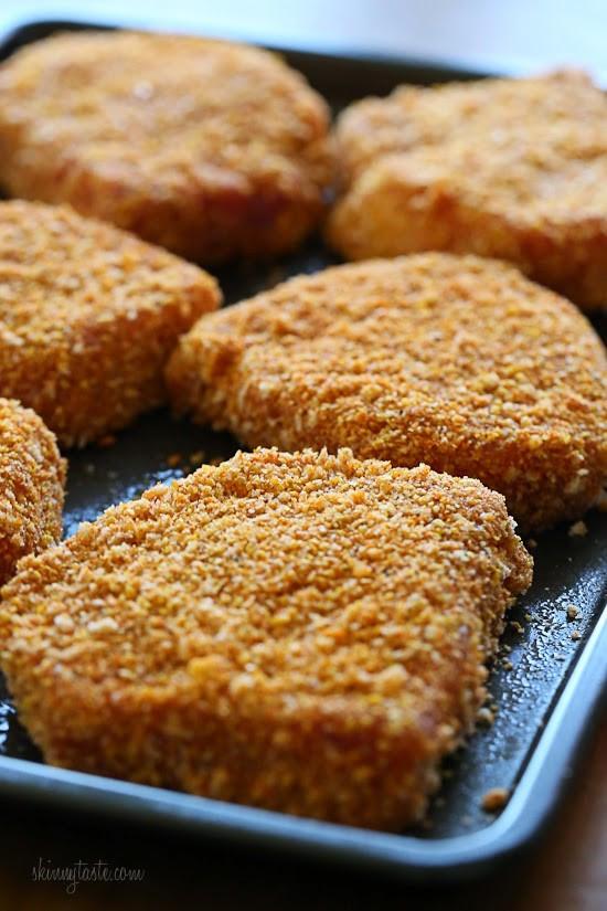 """Breaded Baked Pork Chops  Oven """"Fried"""" Breaded Pork Chops"""