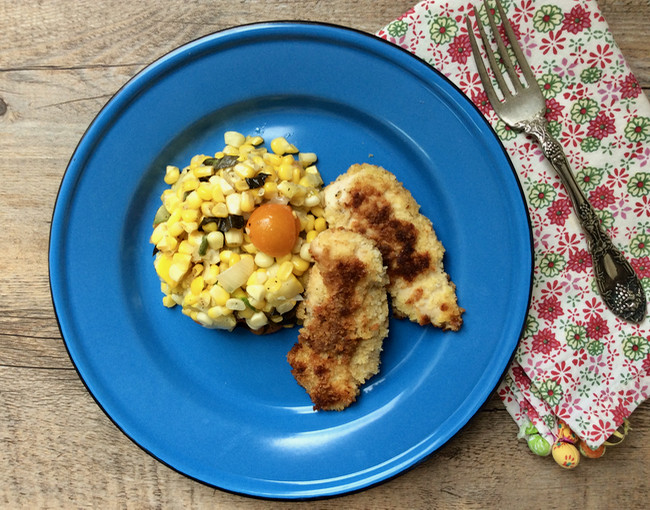 Breaded Chicken Tenders Recipe  Quick breaded chicken tenders with corn salad