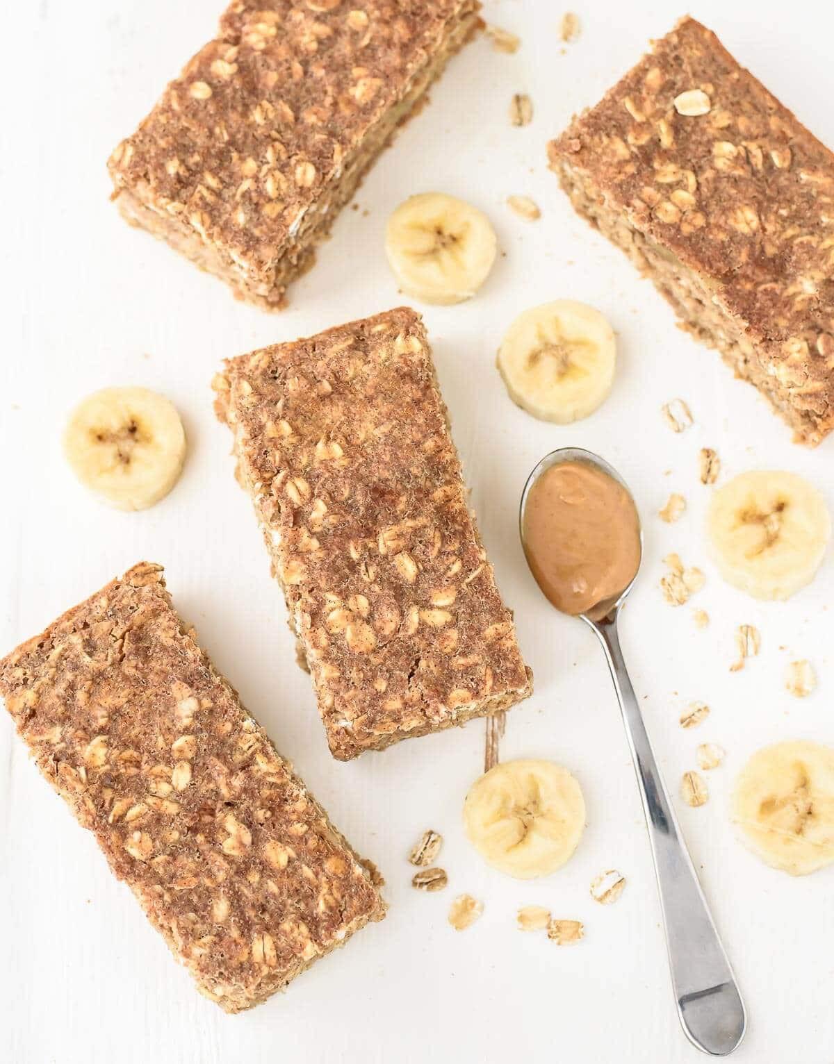 Breakfast Bar Recipes  Peanut Butter Banana Honey Oatmeal Breakfast Bars