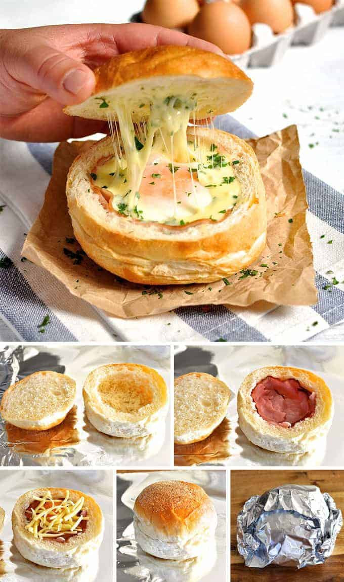 Breakfast Bread Bowl  No Washing Up Ham Egg & Cheese Bread Bowls