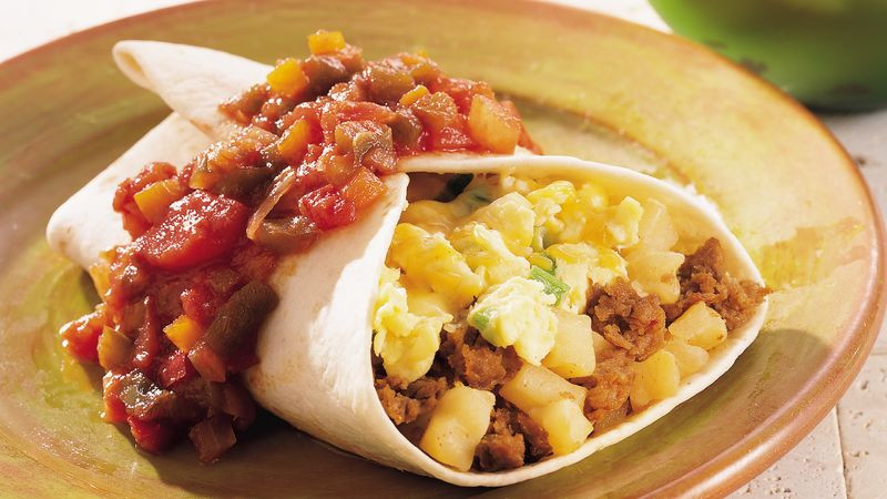 Breakfast Burritos Recipe  Chorizo and Egg Breakfast Burritos Recipe Pillsbury