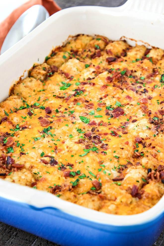 Breakfast Casserole With Tater Tots And Sausage  Cheesy Tater Tot Breakfast Casserole