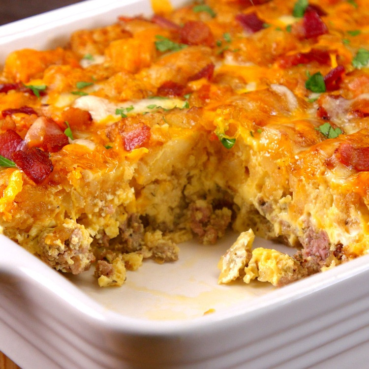 Breakfast Casserole With Tater Tots And Sausage  Tater Tot Breakfast Casserole Recipe & Video