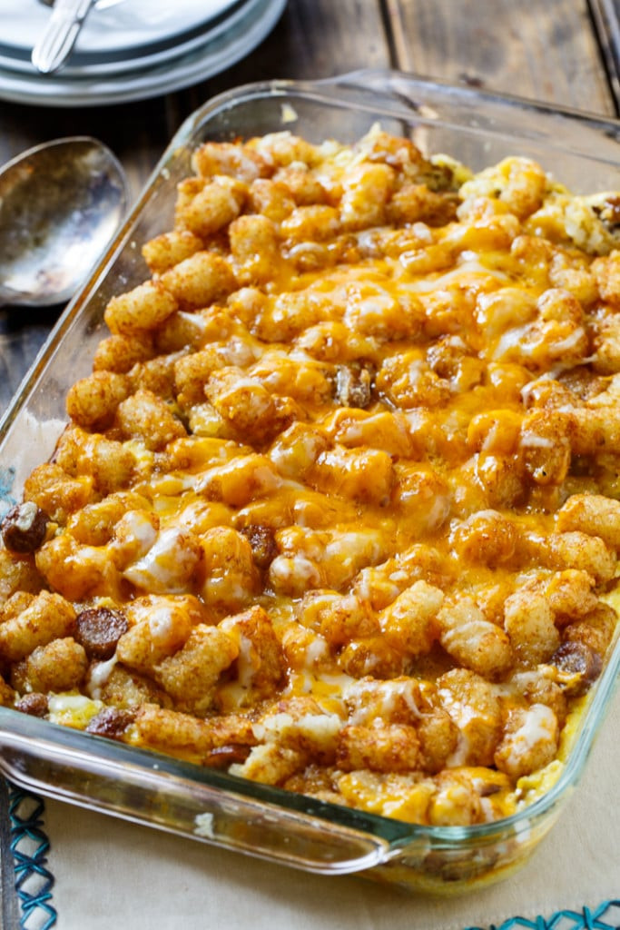 Breakfast Casserole With Tater Tots And Sausage  Breakfast Tater Tot Casserole Spicy Southern Kitchen