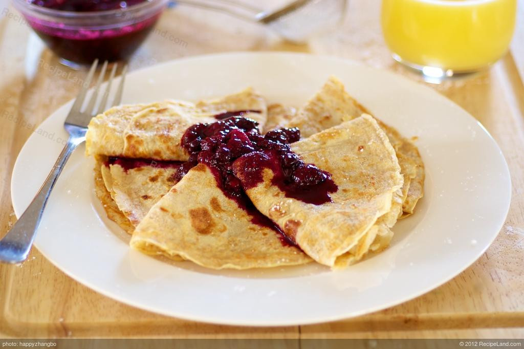 Breakfast Crepes Recipe  Breakfast Crepes with Warm Berry Sauce Recipe