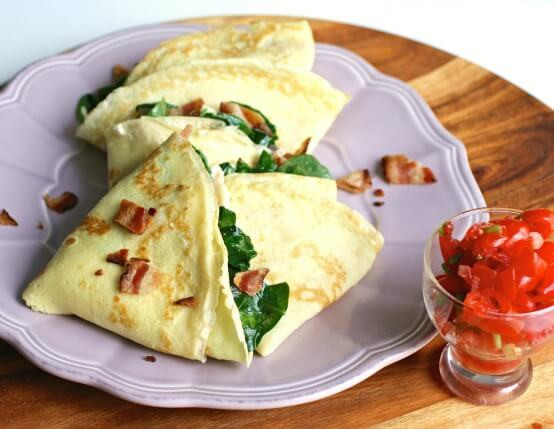 Breakfast Crepes Recipe  Bacon & Cheese Omelet Roll