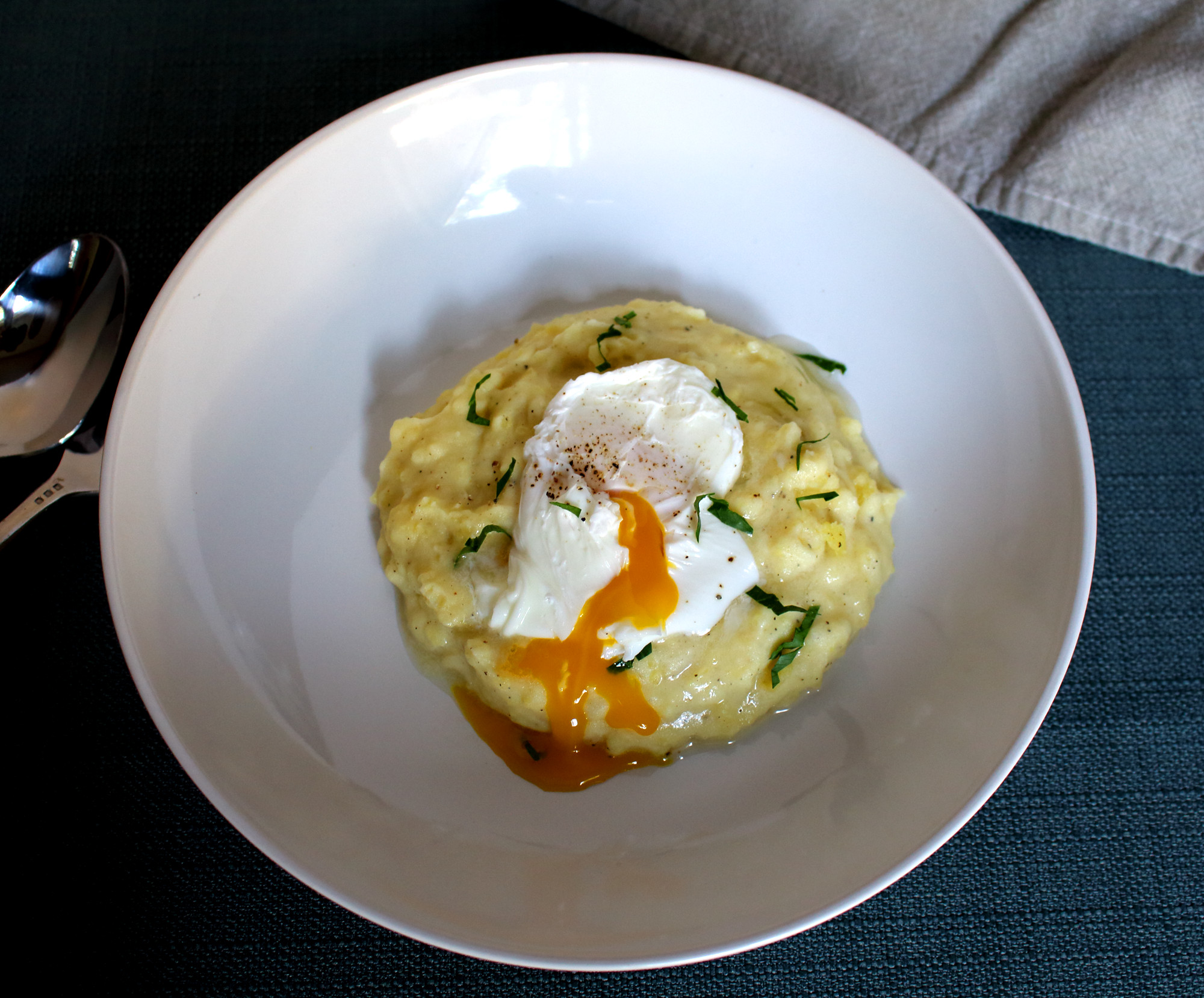 Breakfast Mashed Potatoes  Cheesy Breakfast Mashed Potatoes with a Poached Egg