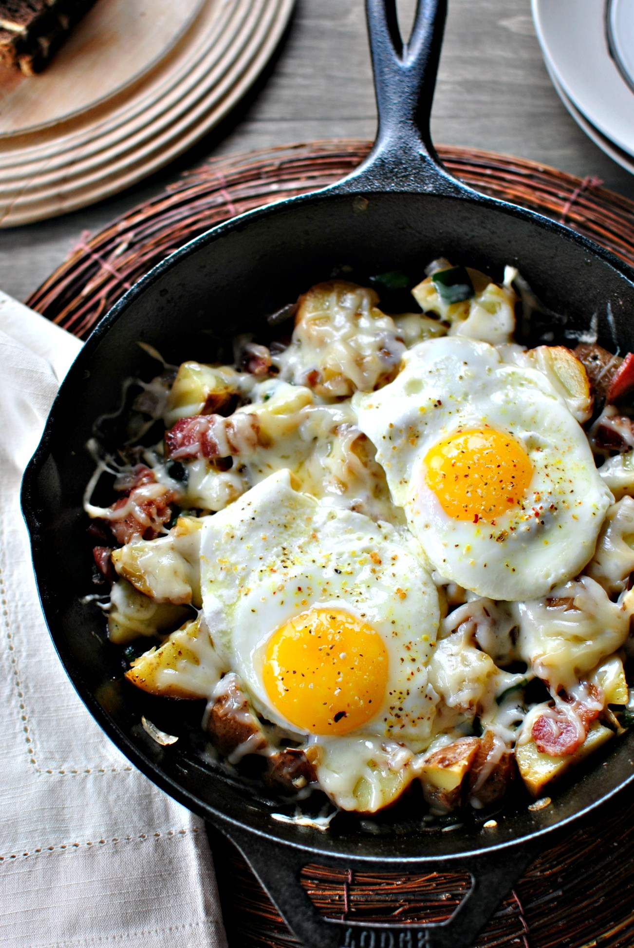 Breakfast Potatoes Skillet  Simply Scratch Bacon Potato Poblano Breakfast Skillet