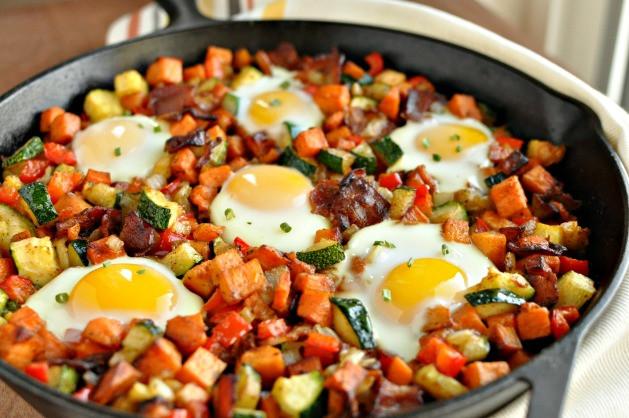 Breakfast Potatoes Skillet  Sweet Potato Breakfast Skillet with Bacon