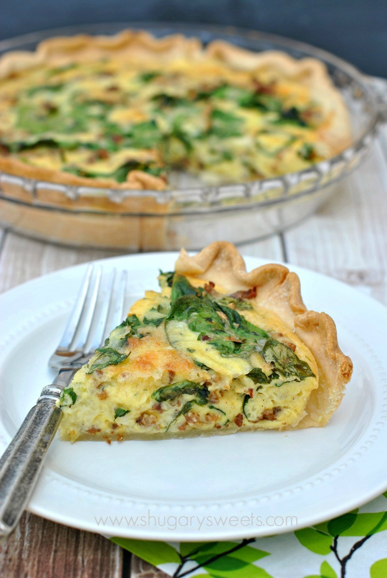 Breakfast Quiche Recipe  Spinach and Sausage Quiche Shugary Sweets