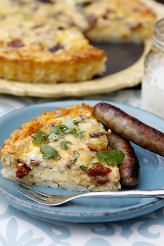 Breakfast Quiche With Sausage  Sausage Quiche with Hash Brown Crust bell alimento