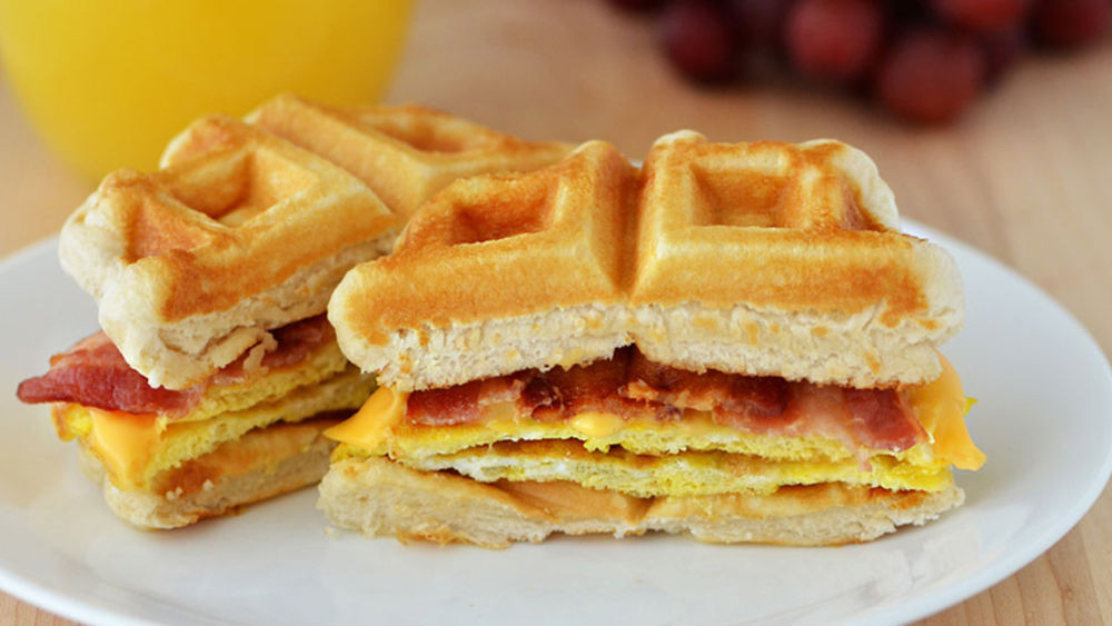 Breakfast Sandwich Recipe  Waffle Breakfast Sandwiches recipe from Pillsbury