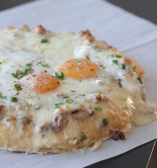 Breakfast Sausage Gravy  breakfast pizza with gravy