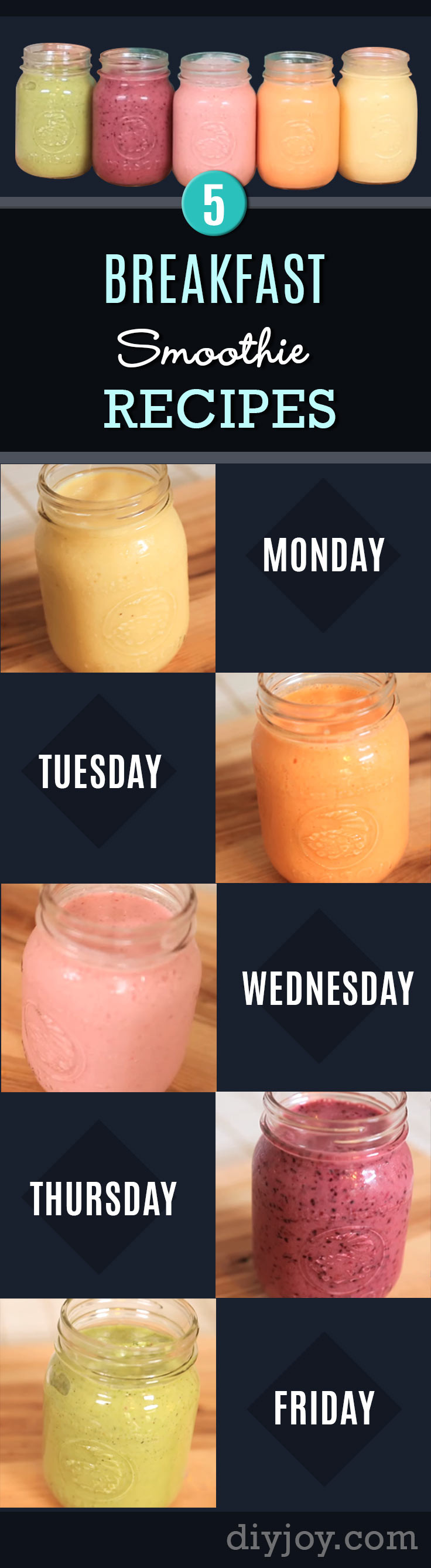 Breakfast Smoothie Recipes  Monday to Friday 5 Ultimate Breakfast Smoothie Recipes