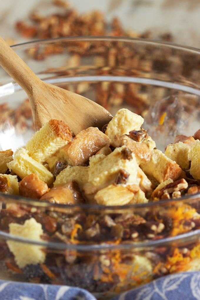 Brioche French Toast Casserole  Brioche French Toast Casserole with Fruit and Nuts and an