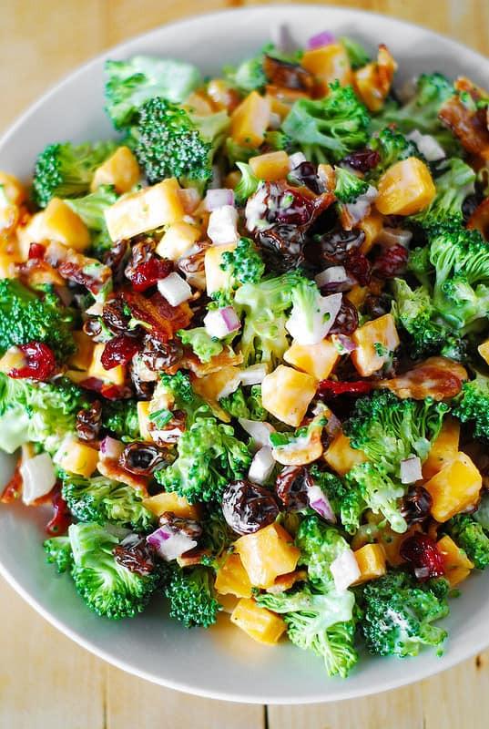 Broccoli And Bacon Salad  Broccoli salad with bacon raisins and cheddar cheese