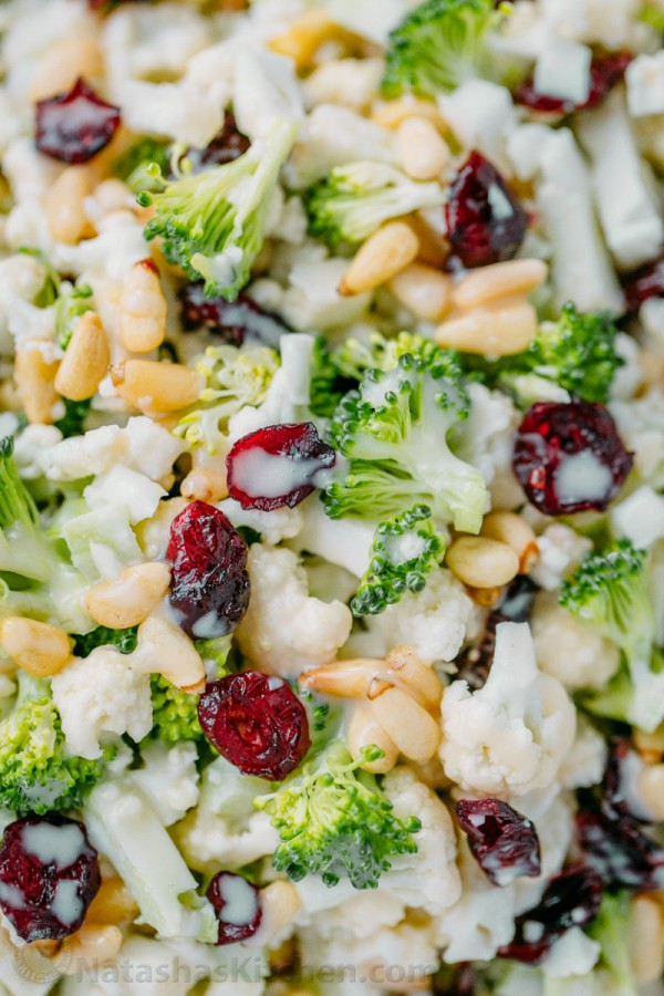 Broccoli And Cauliflower Salad  Broccoli Cauliflower Salad with Creamy Honey Lemon Dressing