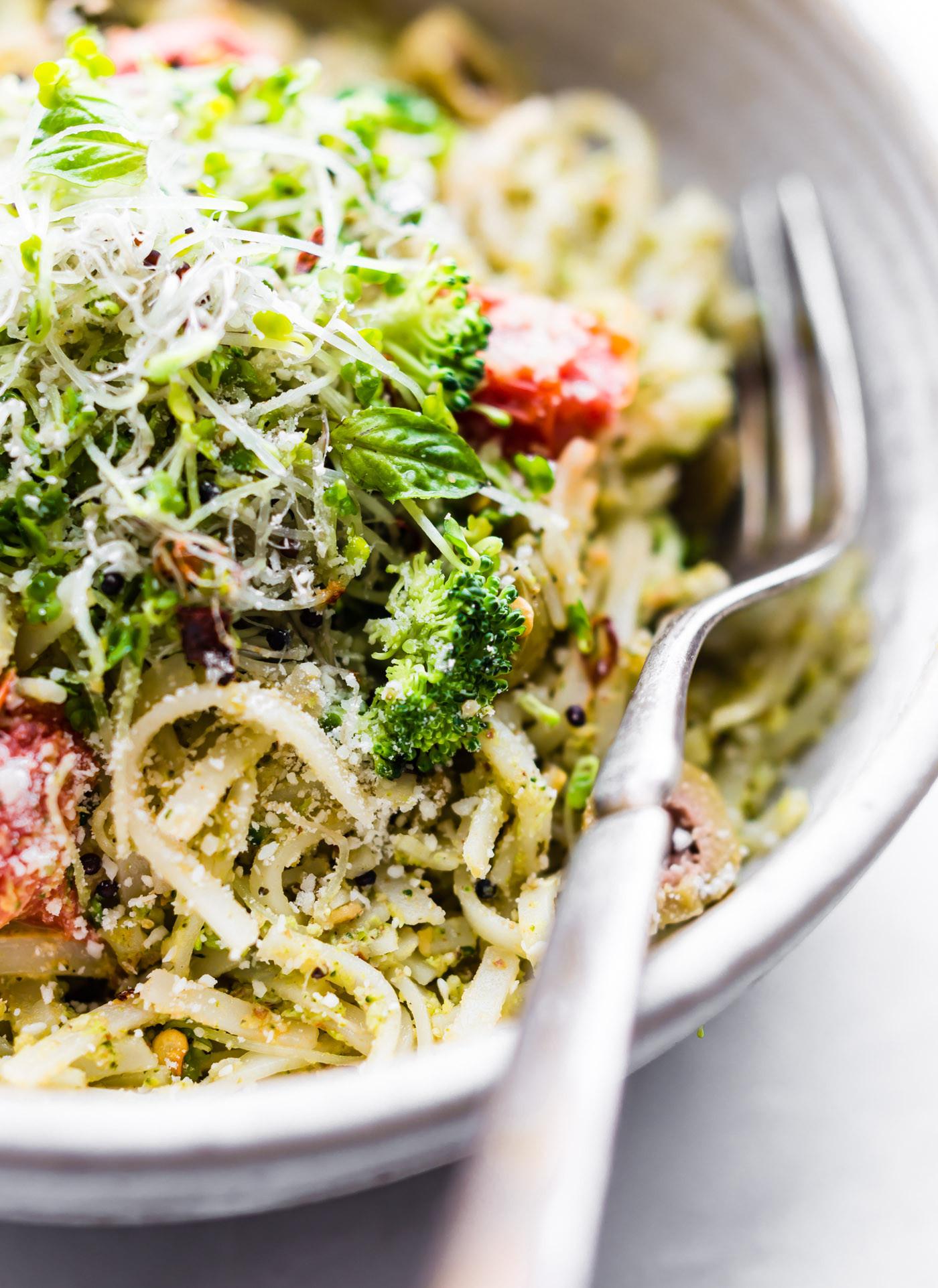 Broccoli Pesto Pasta  Quick Broccoli Arugula Pesto Pasta Vegan Option