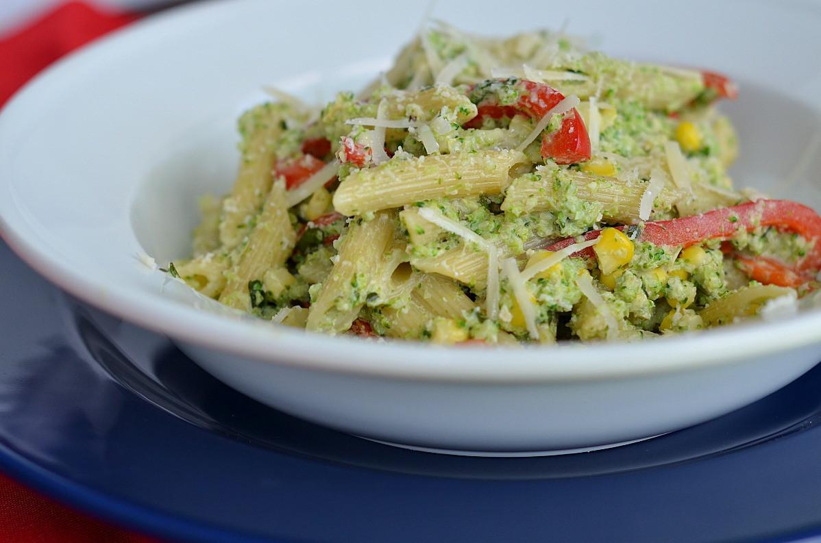 Broccoli Pesto Pasta  Penne with Broccoli Pesto and Corn Three Many Cooks