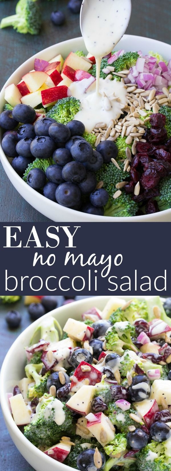 Broccoli Salad No Mayo  Best Ever No Mayo Broccoli Salad with Blueberries and
