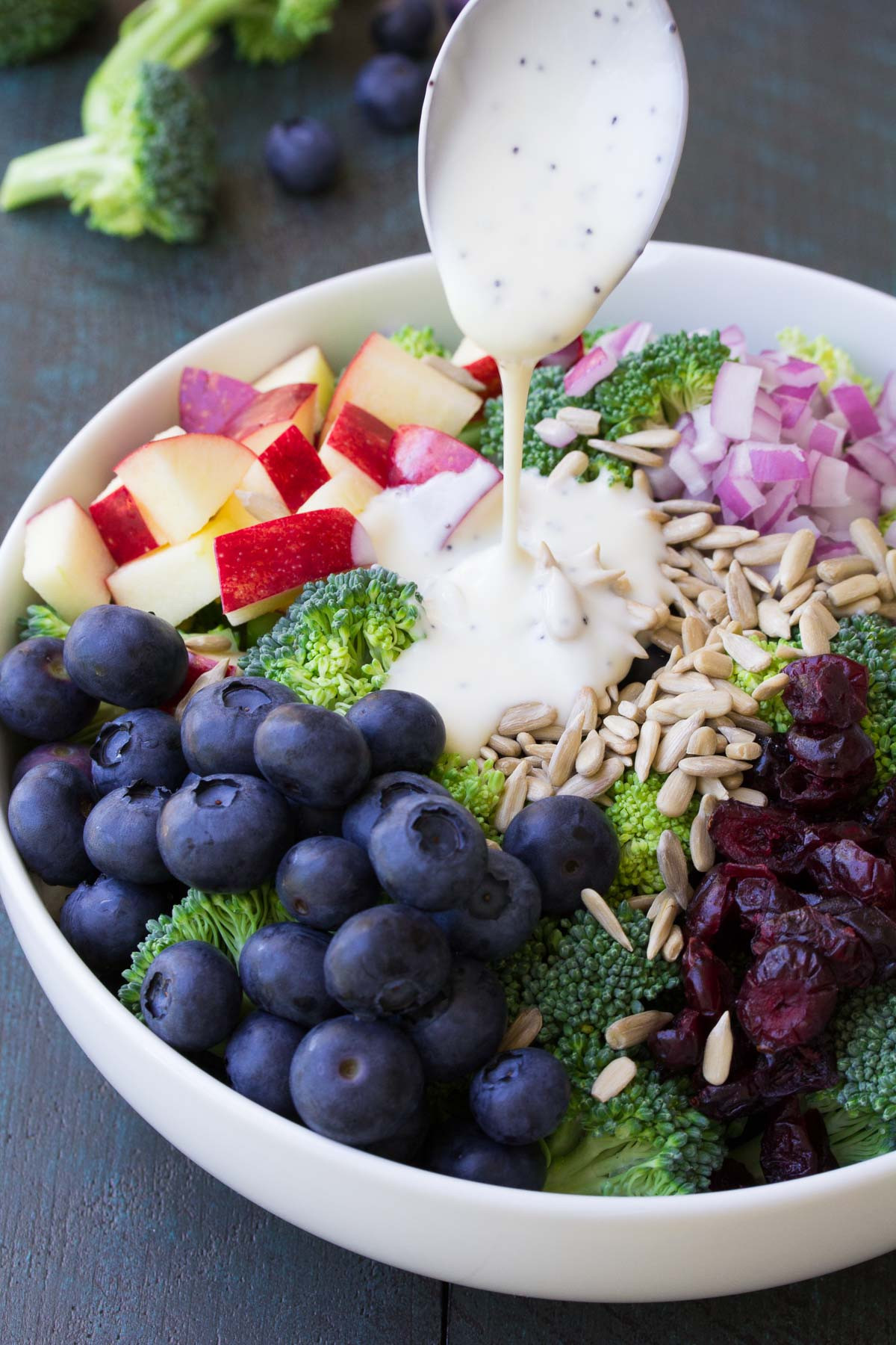 Broccoli Salad No Mayo  No Mayo Broccoli Salad with Blueberries and Apple