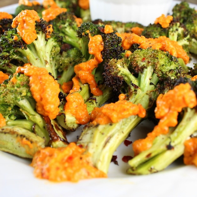 Broccoli With Garlic Sauce  Grilled Broccoli with Garlic Roasted Red Pepper Sauce