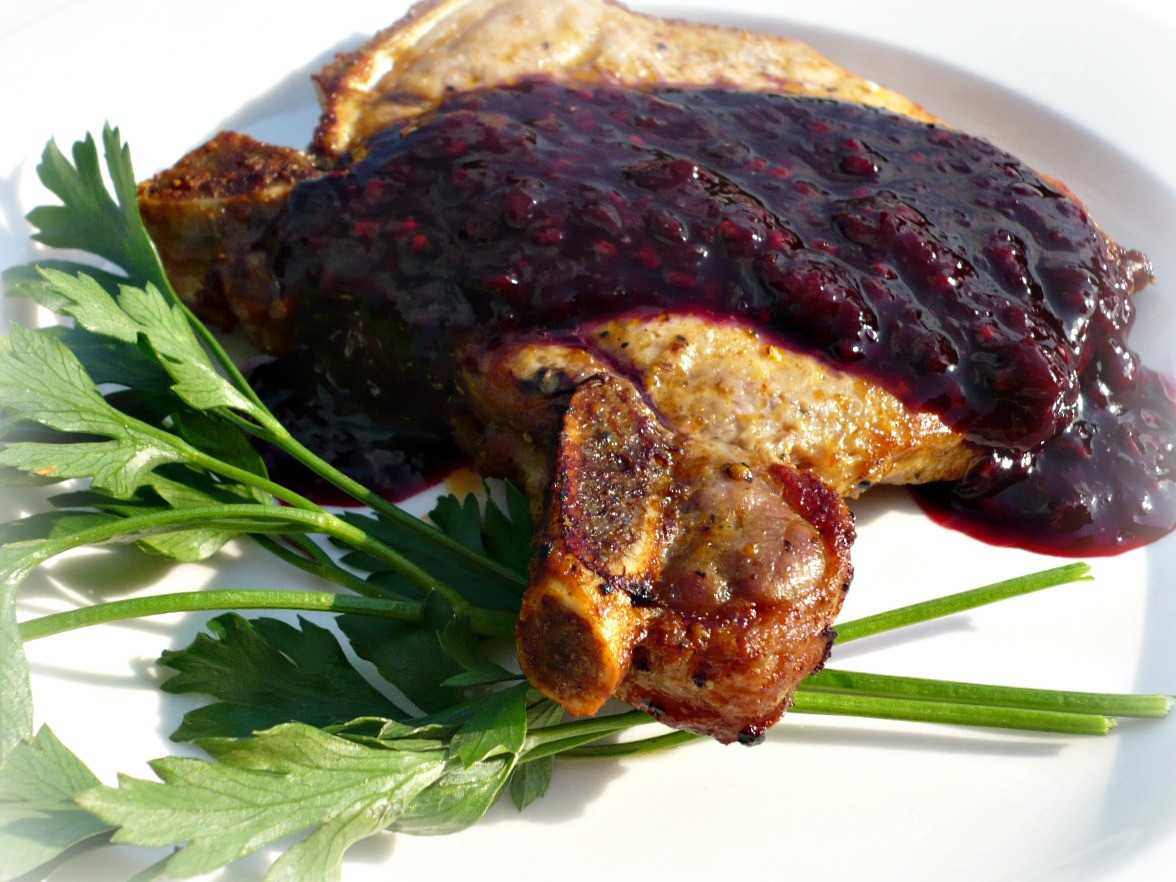 Broiled Pork Chops  Broiled Pork Chops with Boysenberry Sauce