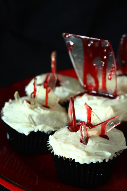 Broken Glass Cupcakes  coconutandchartreuse Bloody Broken Glass Cupcakes