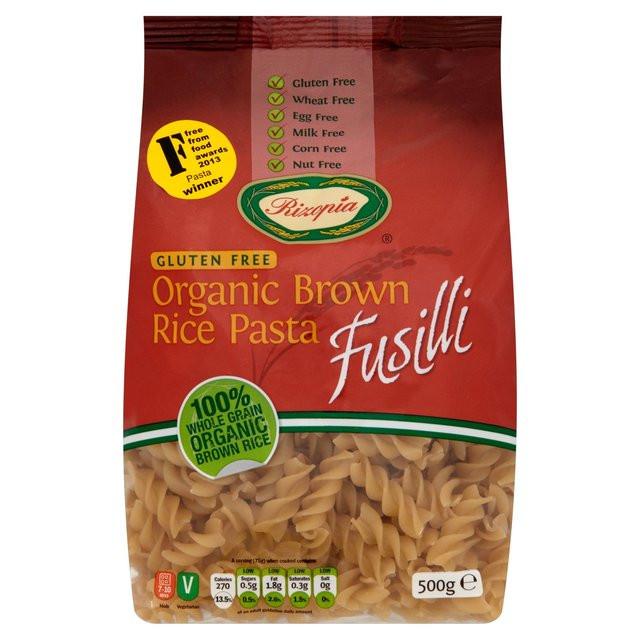 Brown Rice Pasta  Rizopia Free From Organic Fusilli Brown Rice Pasta 500g