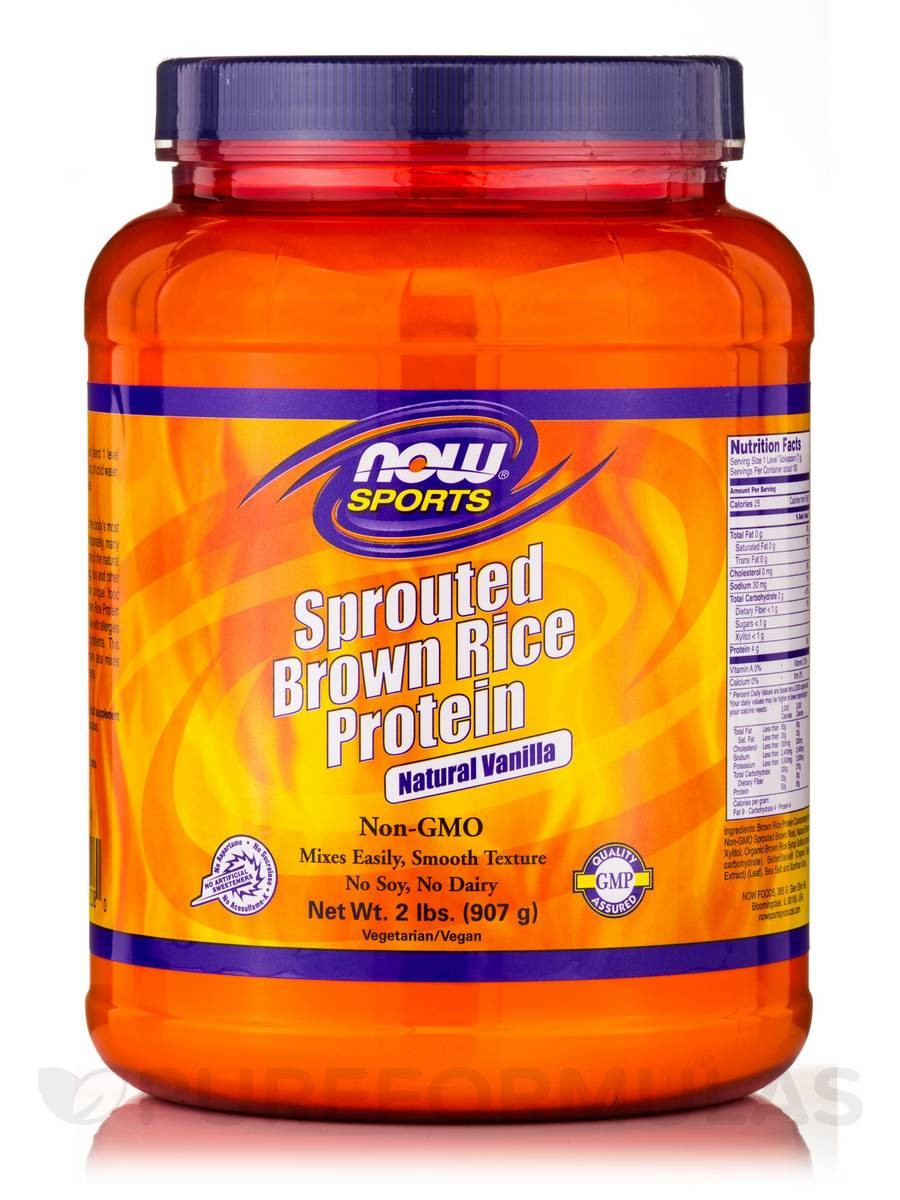 Brown Rice Protein  Sprouted Brown Rice Protein Vanilla Now Foods 2 lb Powder