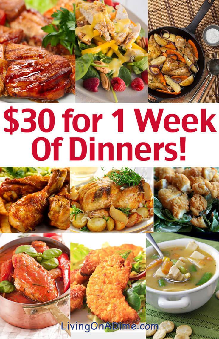 Budget Dinner Ideas  Cheap Family Dinner Ideas $30 for 1 Week of Dinners