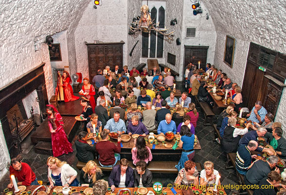 Bunratty Castle Dinner  A view of the banquet hall from the minstrels gallery