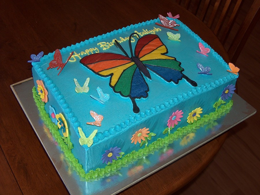 Butterfly Birthday Cake  Rainbow Butterfly Birthday Cake CakeCentral