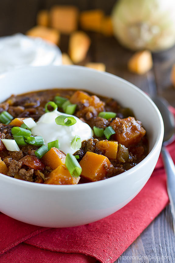 Butternut Squash Chili  Butternut Squash Chili with Beef Taste and Tell