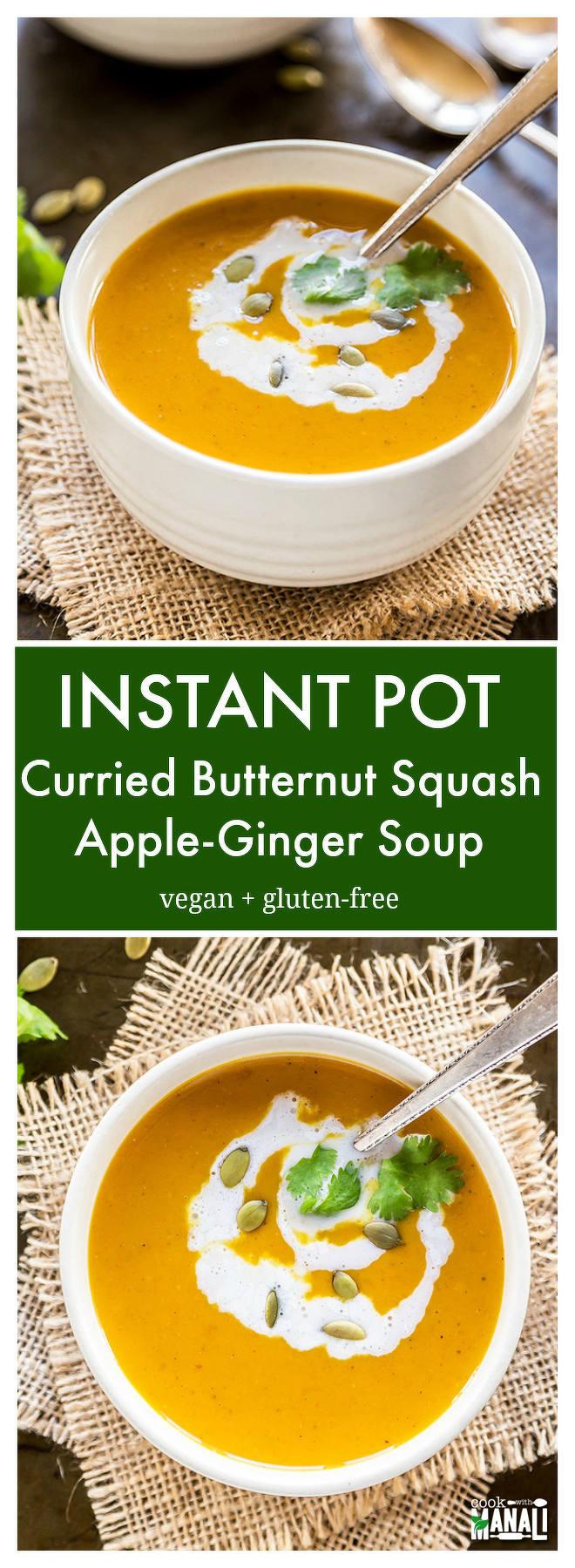 Butternut Squash Soup Instant Pot  Instant Pot Curried Butternut Squash Apple Soup Video