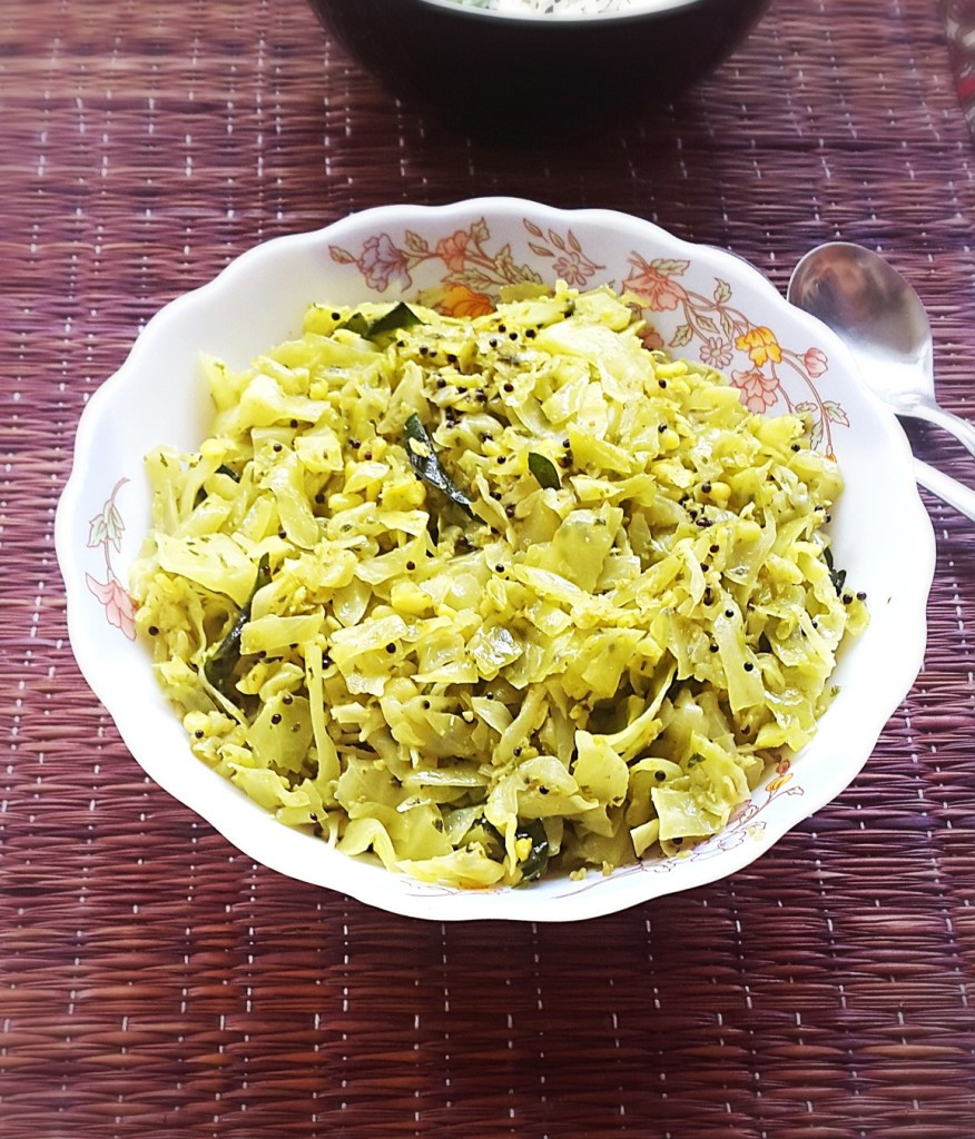 Cabbage Recipes Indian  Cabbage with coconut stir fry recipe Cabbage Senagapappu