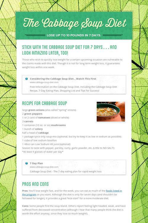 Cabbage Soup Diet Plan  11 best Fad Diets images on Pinterest