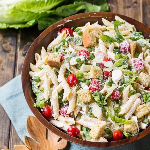 Caesar Pasta Salad  Chicken Caesar Pasta Salad Spicy Southern Kitchen