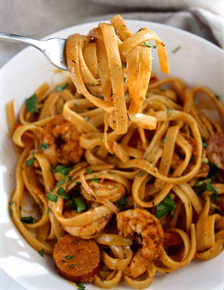 Cajun Shrimp Pasta  Creamy Cajun Shrimp Pasta with Sausage Recipe