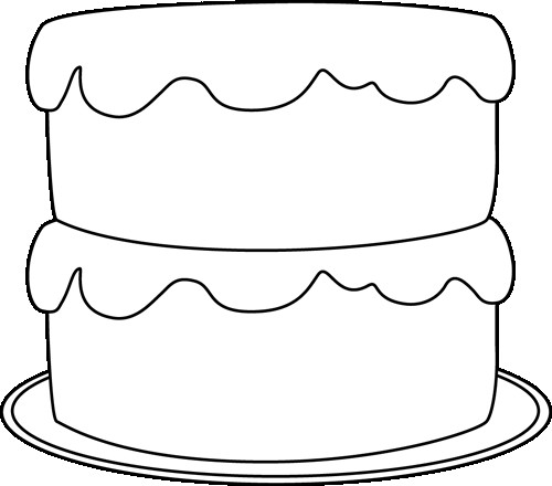 Cake Clipart Black And White  Black and White Cake on a Plate Clip Art Black and White