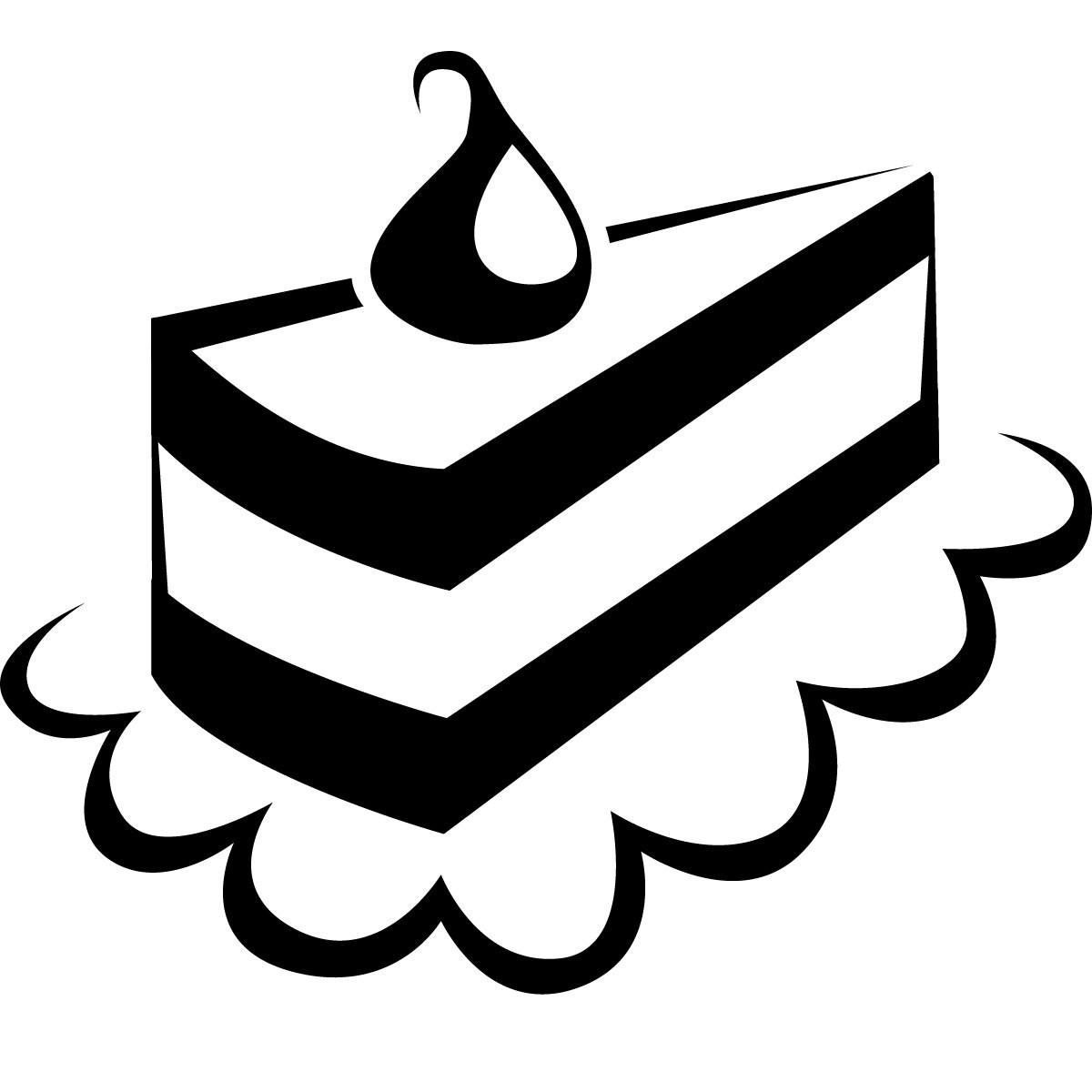 Cake Clipart Black And White  Slice Cake Clipart