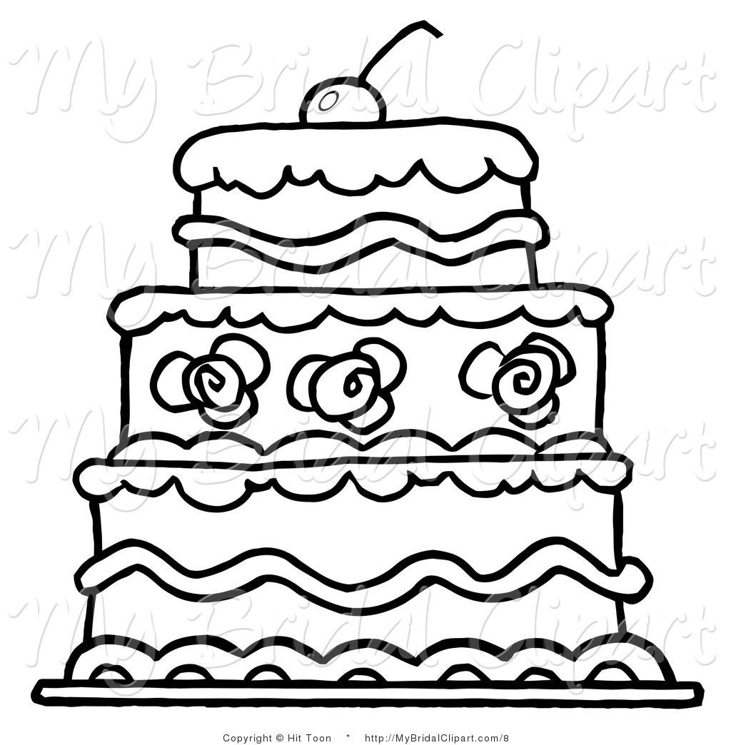 Cake Clipart Black And White  Modern Wedding Cake Clip Art