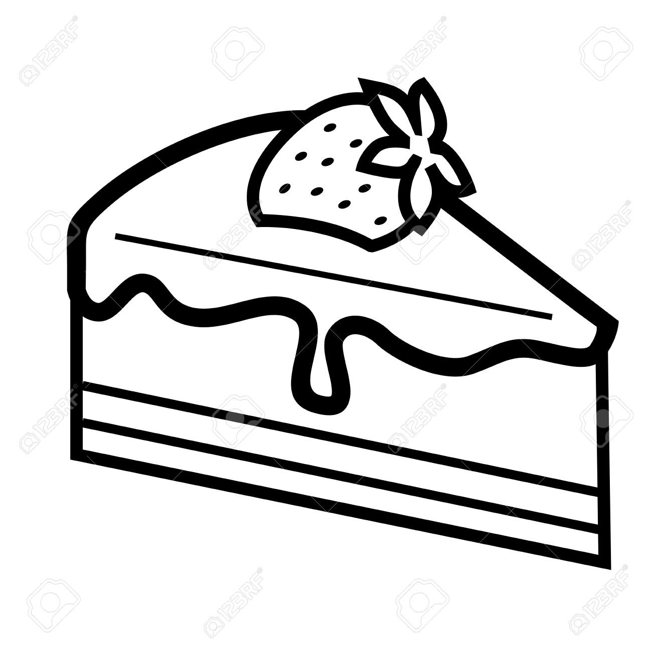 Cake Clipart Black And White  piece of chocolate cake clipart Clipground